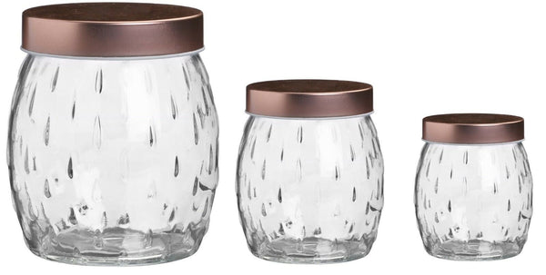 Airtight Round Glass Food Storage Jars Canisters Containers With Copper Lid