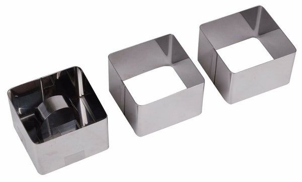 Set of 3 Stainless Stainless Steel Cooking Rings Square Moulds Crumpets Mouse