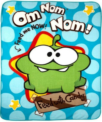 Cut The Rope Om Nom Character Blue Boys Kids Childrens Wrap Fleece Blanket Throw
