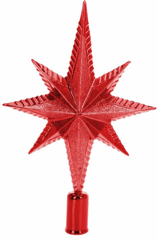 Christmas Glitter Red Tree Topper Red Star Decoration Treetop Ornaments Gift Box