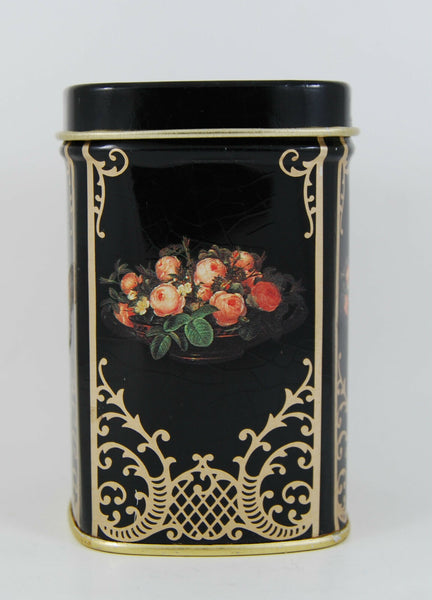 Red Rose Collectable Vintage Metal Trinket Box Small Metal Container