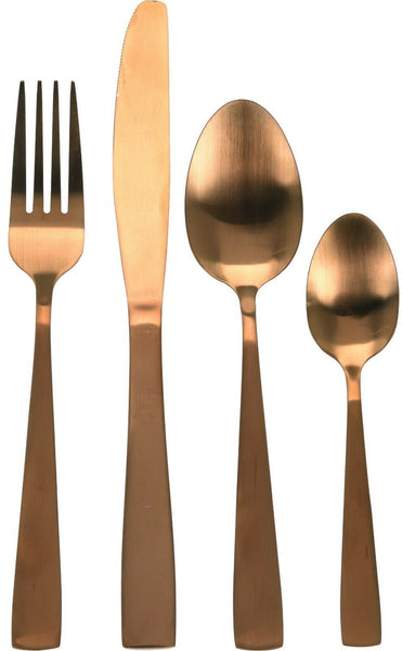 16 Piece Original Matt Copper Stainless Steel Unique Dinner Cutlery Set