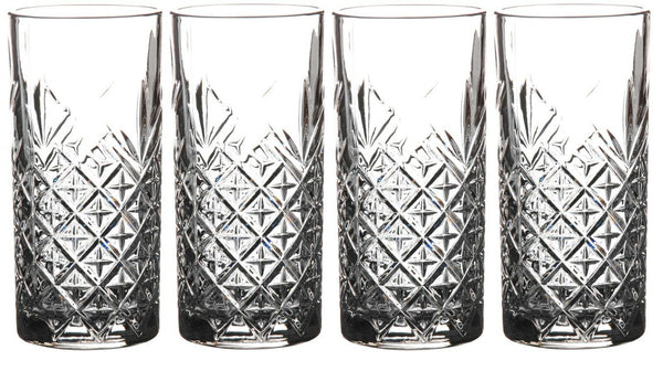 Set of 4 Hi ball Cut Glass Timeless Glasses High Ball Tumblers