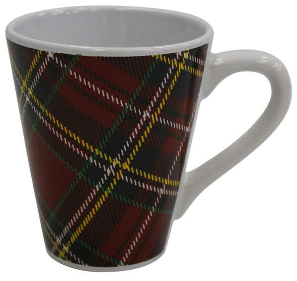 Set of 6 Porcelain Red Tartan Design Coffee Mugs 280ml Capacity Conical Shaped