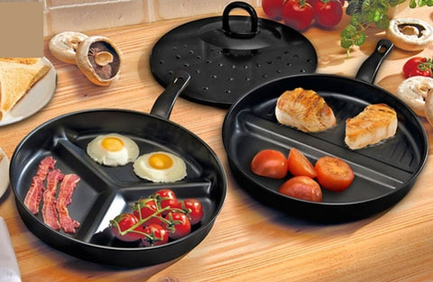 Combo Divided All in One Easy Clean Black Non Stick Frying Pans x 2 with Lid