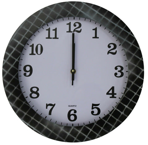 35cm Large Round Wall Clock With Quartz Movement Black & Grey & Criss Cross