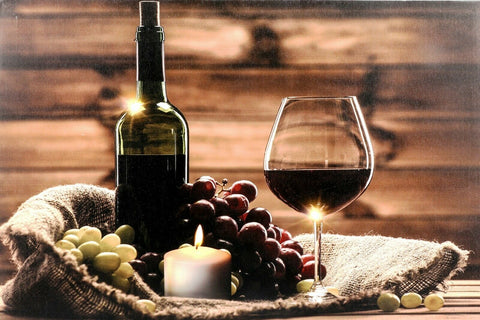 LED Large Light up Canvas Pictures 60cm x 40cm Wall Hanging Red Wine Glass