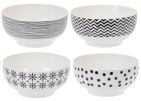 Siaki Set of 4 Bowls Breakfast Soup Cereal Bowls New Bone China. Lines Stripes