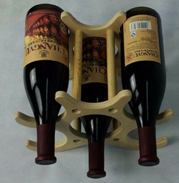 RTA Wooden 6 Bottle Wine Rack Freestanding Countertop Display Bottle Holder