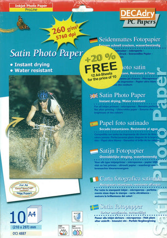 Decadry OCI 4887 Satin Photo Paper 12 A4 Sheets Photography Printing Paper