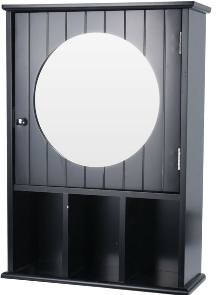 Black Bathroom Wall Cabinet With A Mirror & Storage Compartments