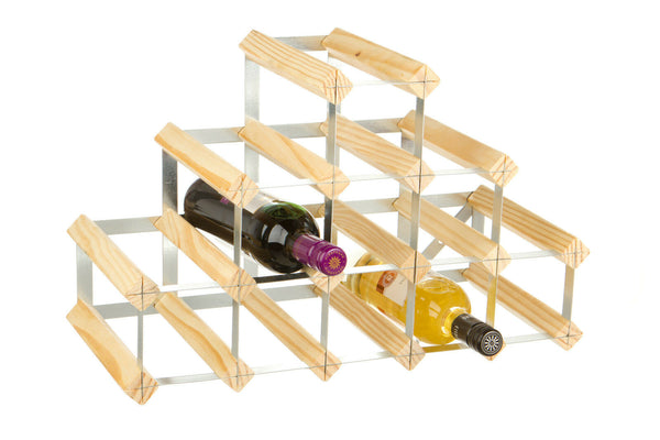 RTA 14 Bottle Traditional Pyramid Wooden Wine Rack Dark / Natural / Black Pine