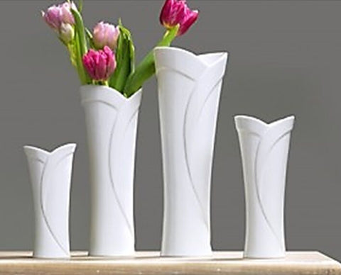 Ritzenhoff & Breker Tall Wide Mouth Tulip Themed Porcelain White Vase 25cm