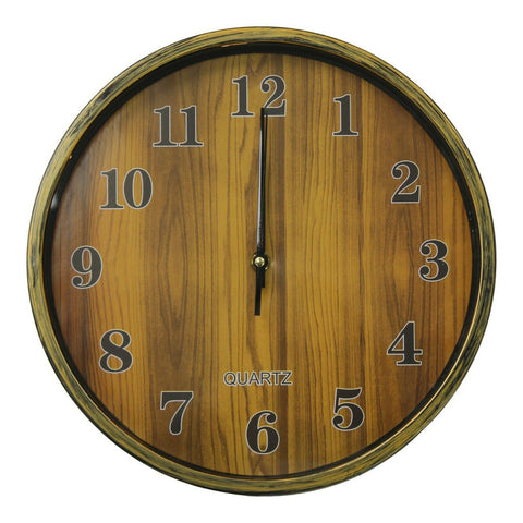 28cm Round Wall Clock With Quartz Movement Wood Effect Clock