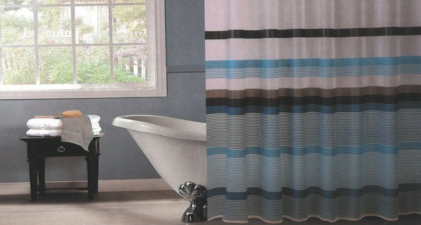 Striped Blue Shower Curtain 180 x 180cm Including Hooks Reinforced Hook Holes