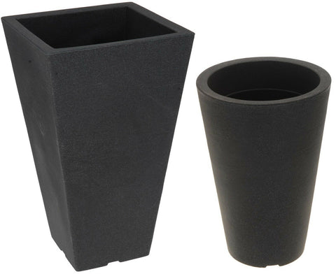 Large Plastic Indoor / Outdoor Plant Pots Charcoal