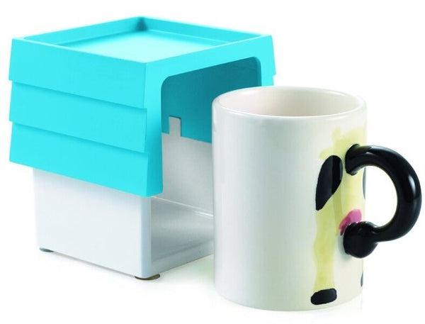Set of 4 Cow Mugs WIth Mug Holder in Gift Box Stops Spilling and Leakage