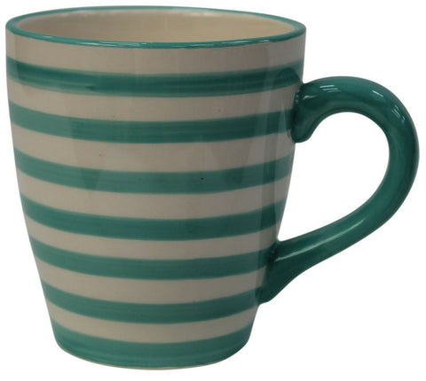Set of 4 EXTRA Large Coffee Mugs Stoneware Striped Green 480ml Capacity