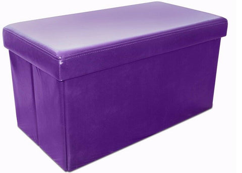 Ottoman Aubergine Purple Large Pouffe Storage Box Can be Sat On up to 150kg