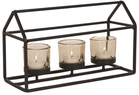 Triple Candle Tea Light Holder With Glasses In A Metal House Design