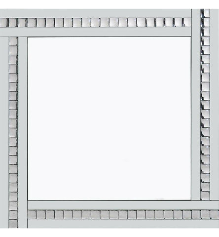 Classic Triple Bar Mirror White Crystal Edge Design 60cm x 60cm by Pharmore
