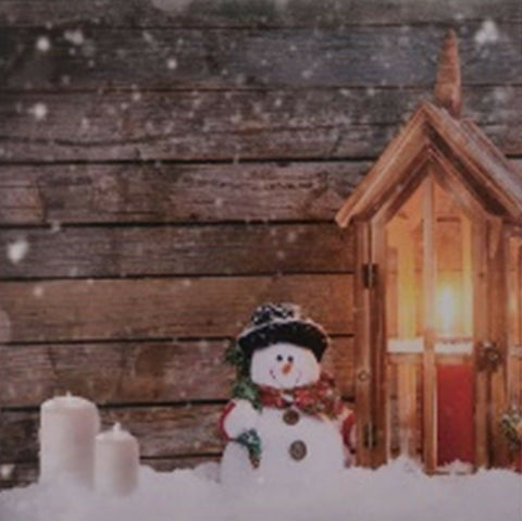 LED Light up Canvas Pictures 30cm x 30cm Wall Hanging Art Snowman in Snow