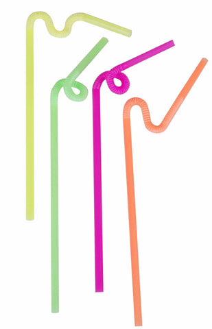 Pack of 50 Disposable Drinking Bendy Straws Multi Coloured Party Straws
