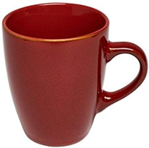 Sunnex Set of 6 Red Reactive Glazed Stoneware Large Coffee Mugs 350ml Capacity