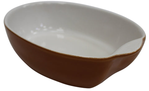 Medium 25cm Oval Oven Roasting Dish Roaster Ceramic Baking Pie Dish Brown