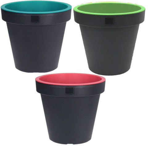 Bright Coloured Plant Pots Medium Planters Pink Green & Blue 35cm Plant Pot