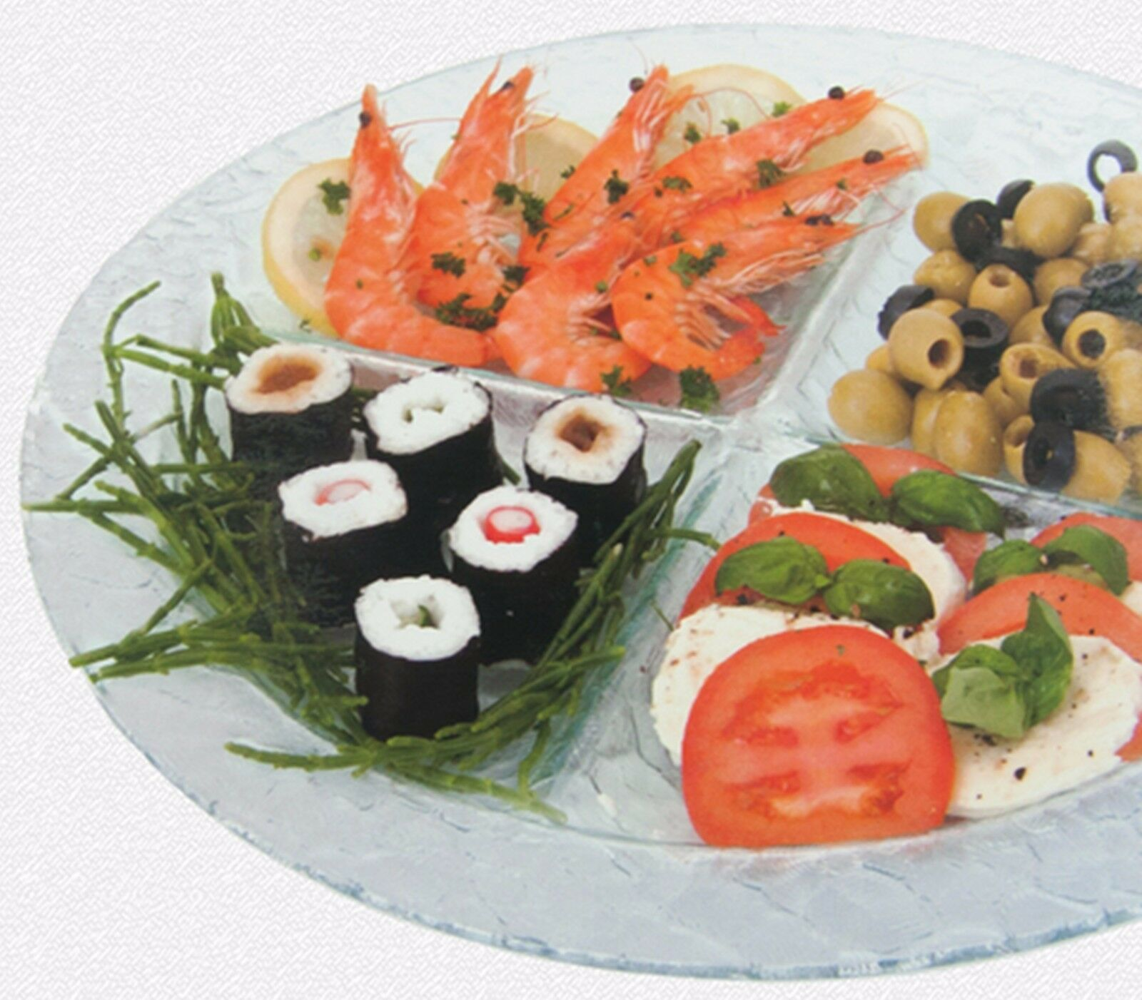 Large Round 26cm Glass Serving Platter With 4 Sections Olives Snacks Sushi Tapas