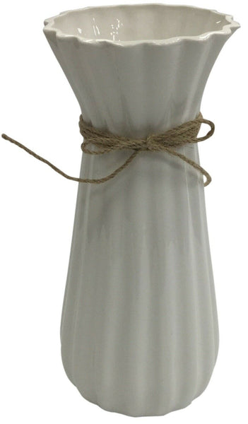 28cm Tall White Vase Flared Ceramic Flower Vase With String