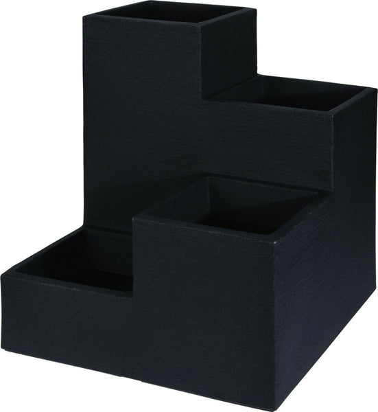 Large Indoor Outdoor Charcoal Grey Cube Planter Plant Pot Stepped Planter