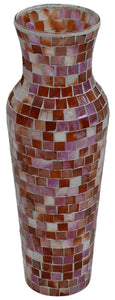 Large Multi Coloured Mosaic Glass Vase 35cm Tall Wide Mouth Coral Colours
