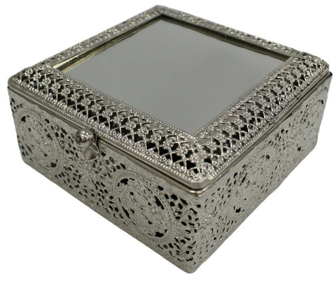 Antique Looking Square Silver Mirrored Trinket Jewellery Box Perfect Gift