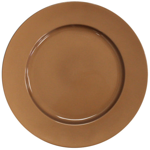 Set of 4 Shiny Copper Plastic 33cm Round Charger Plates Under Plates