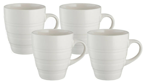 Mason Cash Rippled Design Set of 4 Large Stoneware Coffee Mugs Cream
