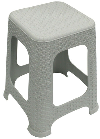 Large Rattan Stackable Stools Step Stool Plastic Indoor Outdoor Chair Light Grey