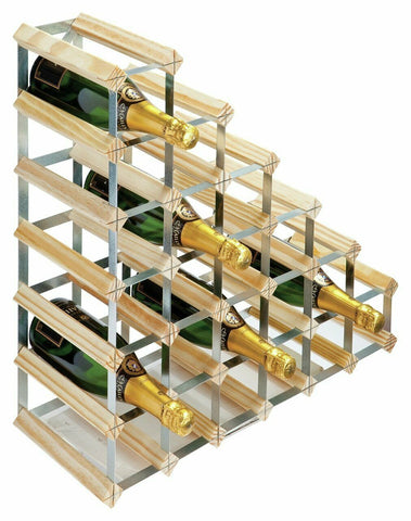 27 Bottle Traditional Wooden Wine Rack - Fully Assembled Under Stairs Wine Rack