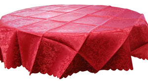 Large 6ft Round Red Damask Jacquard Tablecloth 100% Polyester