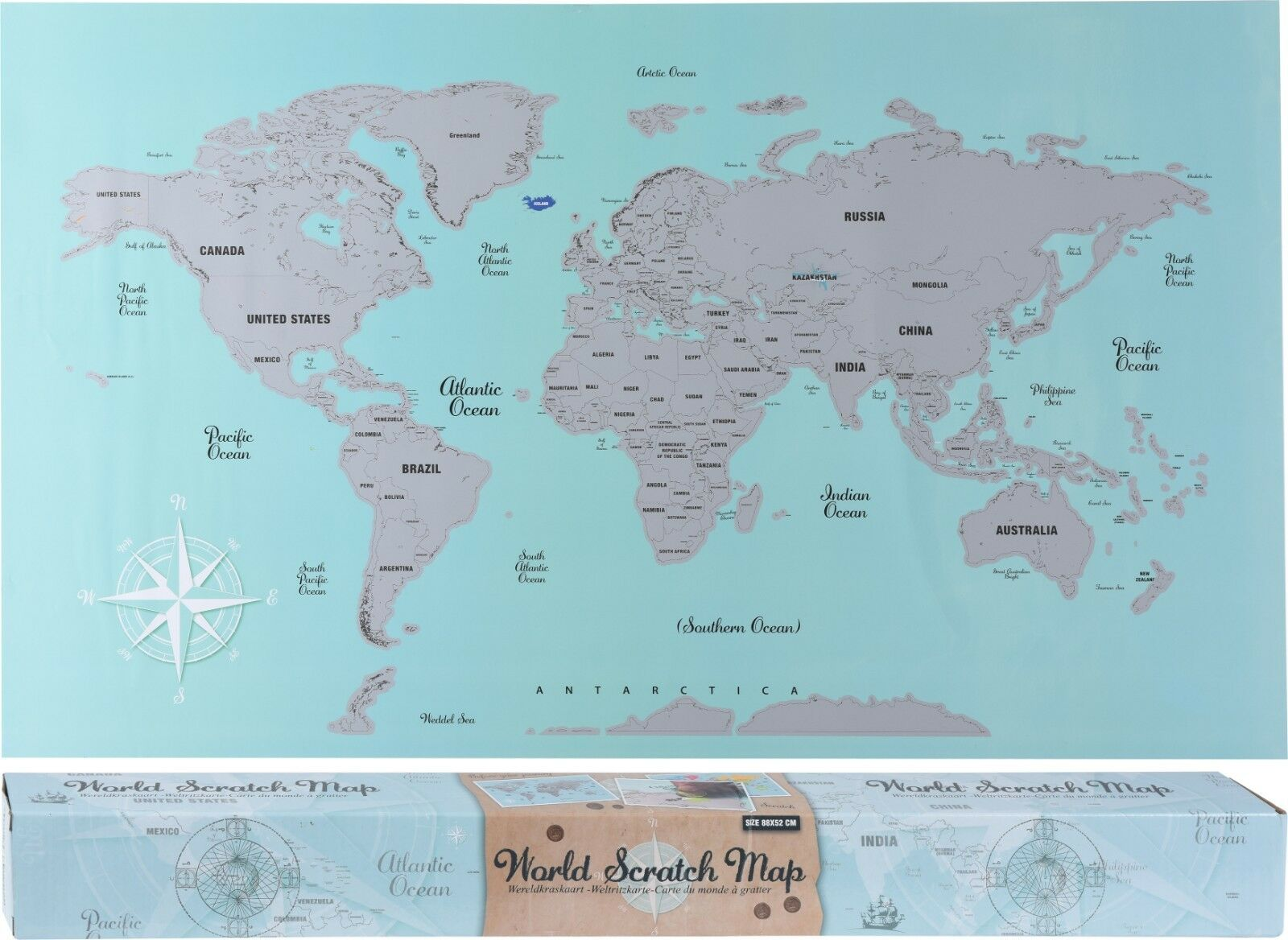 World Scratch Map 88cm X 52cm. Scratch Out The places in The world you have been
