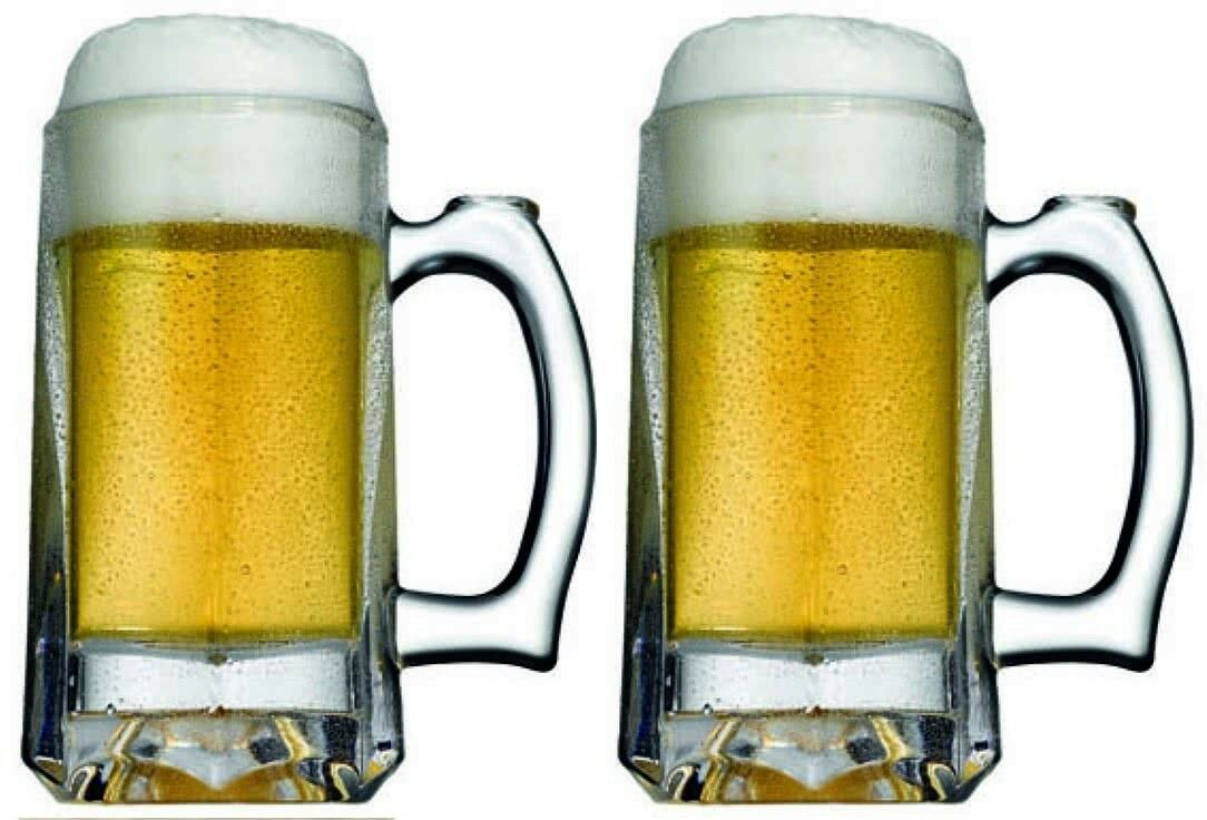 Set of 2 Pasabache Large Beer Glasses Tankards Solid Glass 300ml