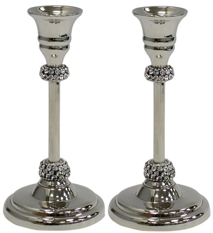 Set of 2 Silver Candlesticks Candle Holder With Diamonds On Candle Sticks 20cm