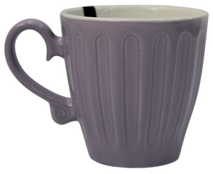 Set of 6 Bone China Coffee & Tea Mugs Large Embossed Rustic Purple Mug 350ml