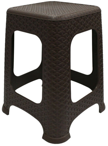 Large Rattan Stackable Stools Step Stool Plastic Indoor Outdoor Chair Brown