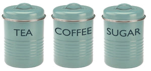 Typhoon Vintage Retro Tea Coffee Sugar Canister Countertop Storage Set Turquoise