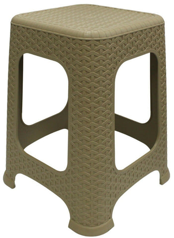 Large Rattan Stackable Stools Step Stool Plastic Indoor Outdoor Chair Beige