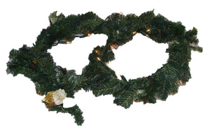 Christmas Decorated Flower Garland Illuminated With Lights Christmas Decoration