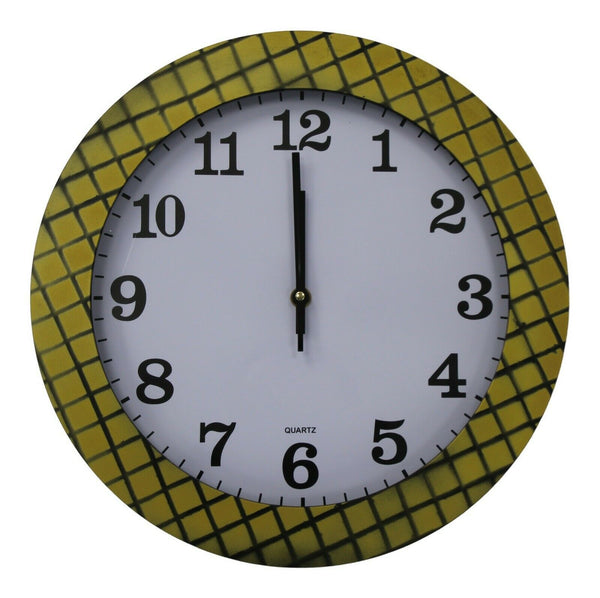 35cm Large Round Wall Clock With Quartz Movement Mustard Yellow & Criss Cross