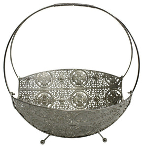 Large Metal Mesh Silver Decor Bowl Centerpiece Bowl Tray Fruit Bowl